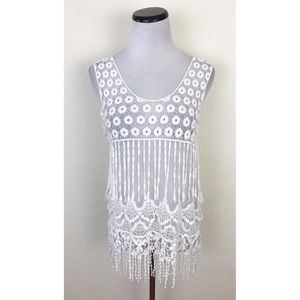 Say What? Sheer Lace Crochet Fringe Tank Top
